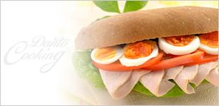 ロースハムとゆで卵の断糖サンド