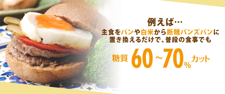 例えば・・・主食をパンや白米から断糖バンズパンに置き換えるだけで、普段の食事でも糖質60~70%カット