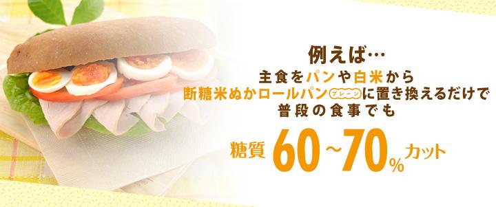 例えば・・・主食をパンや白米から断糖米ぬかロールパン(プレーン)に置き換えるだけで、普段の食事でも糖質60~70%カット