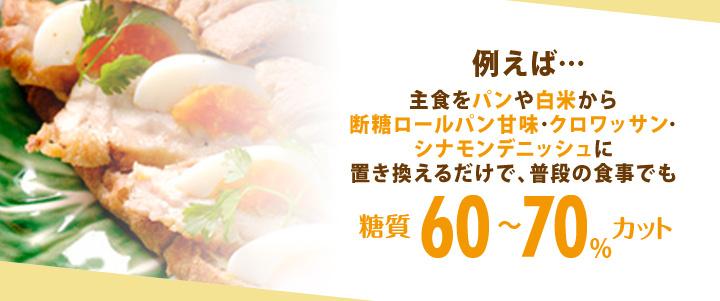 例えば・・・主食をパンや白米から断糖ロールパン甘味・クロワッサン・シナモンデニッシュに置き換えるだけで、普段の食事でも糖質60~70%カット