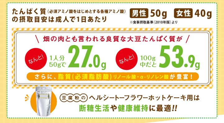 豆腐粉のヘルシートーフラワーホットケーキ用は断糖生活や健康維持に最適!!